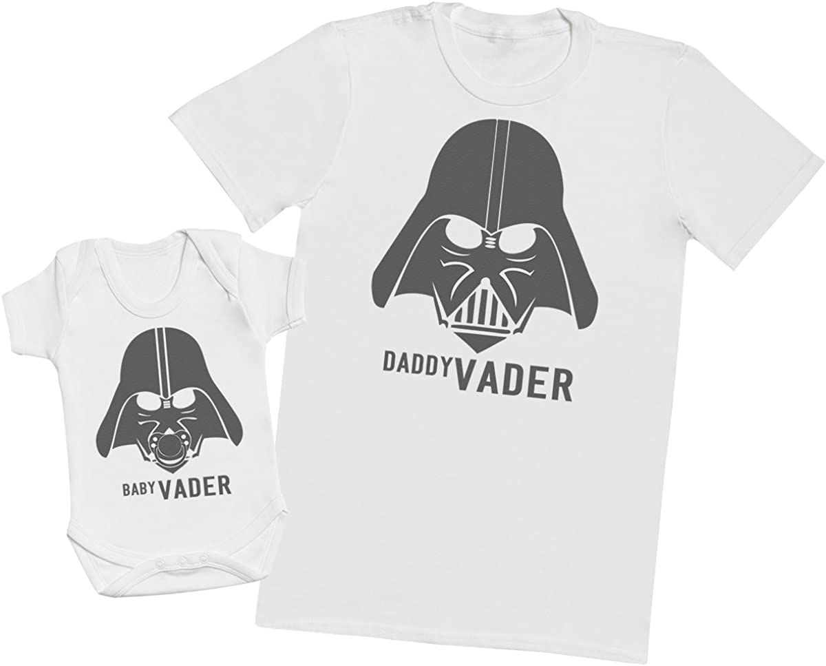 Baby Vader & Daddy Vader - regalo para padres y bebés en un cuerpo para bebés y una camiseta de hombre a juego