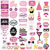 Baby Shower Girl Photo Booth Props - 53 Pieces - Baby Shower Decorations, Gifts, Favors and Supplies for Girl - Pregnancy Announcement - Gender Reveal Party