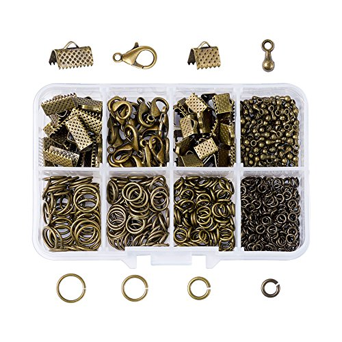 (Pandahall 1 Box Nickel Free Jewelry Making Finding Kits with Lobster Clasps/Ribbon Ends/Jump Rings/Drop End Pieces (Antique Bronze))