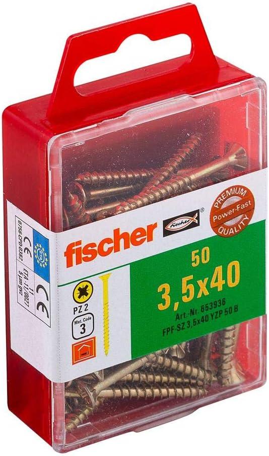 Fischer 653936 Power-Fast Lot de 50 Vis /à t/ête frais/ée 3,5 x 40 mm TG PZ galvanis/ée Jaune
