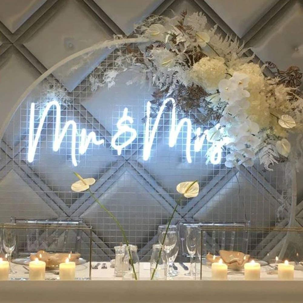 Mr&MRS Neon Sign for Wall, Bedroom, Home,Decor,Cool White Neon Sign for Bachelorette Party Bar Club, Birthday Party Wedding Decoration Size- 50 x20 cm