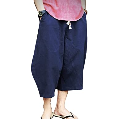 e2981291aa juqilu Linen Pants for Men Light Summer Trousers 3/4 Long Beach Pants with  Drawstring Solid Color Casual Pants Soft Breathable: Amazon.co.uk: Clothing