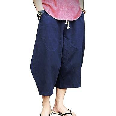 f22b35d51a junkai Linen Pants for Men - Light Summer Trousers 3/4 Long Beach Pants with