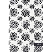 """Notes: 6""""x9"""" Blank Lined Page Notebook Oriental Retro Navy Blue Round Curve Frame Line Botanic Garden Flower Seamless Pattern Cover. Matte Softcover Ruled Note Book Journal"""