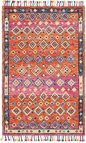 Safavieh Aspen Collection APN138A Handmade Wool Area Rug, 10 x 14 , Orange Fuchsia