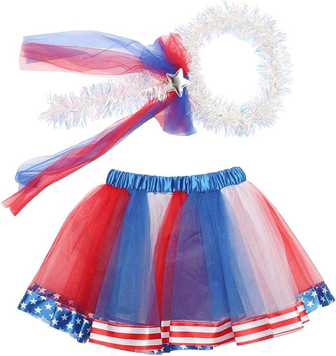 Amosfun Dia de la Independencia Infantil Tutu Falda de Dos Piezas ...