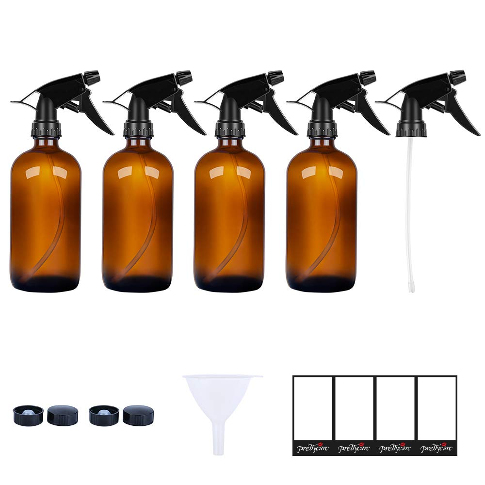 PrettyCare Glass Spray Bottles 16 oz (4 Pack of Amber Bottles, 8 Labels, 1 Funnel, 1 Extra Sprayer Fine Mist Sprayers Dispenser for Essential Oils, Lab Chemicals, Colognes & Perfumes
