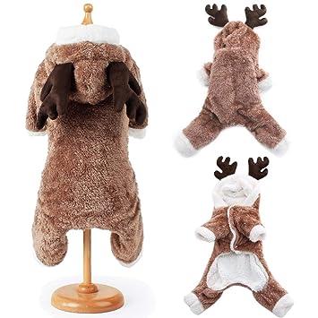 BulzEU- Cute Dog Christmas Clothes Hoodie Winter Warm Reindeer Deer Elk Pet  Costume Coral Fleece 180484fa5
