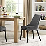 Modway Viscount Mid-Century Modern Upholstered Fabric Dining Chair In Gray