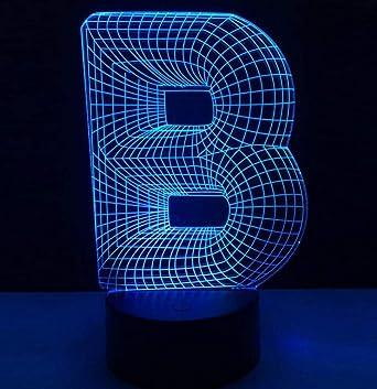 Chandalier Novedad Lámpara 3D Alfabeto Letra B 7 Tabla De Mesa Que Cambia De Color Led