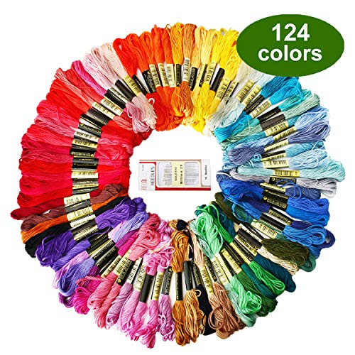Friendship Bracelet String, ZOUTOG Premium Rainbow Color Embroidery Floss, 124 Color Set of Bracelet String with 16…