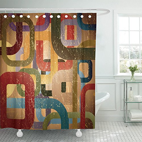 Emvency Shower Curtain Beige Wall Abstract on Brown Red Geometric Gold Oval Waterproof Polyester Fabric 60 x 72 inches Set with Hooks