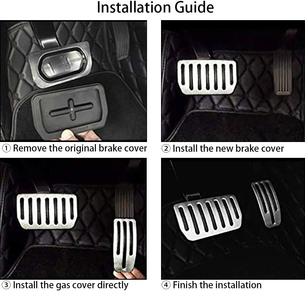 Gas Brake Pedals Cover for Tesla Model 3 Set of 2 Accelerator Brake Anti Slip Aluminum Pads Performance Foot Pedals Protective Non-Slip Pads