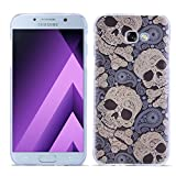 Samsung Galaxy A7 2017 Case, KTtwo [Lightweight] [Scratch Resistant] [Drop Protection] Special 3D Relief Printing Pattern Design Silicone Soft TPU Cover case for Samsung Galaxy A7 2017 (Skull)