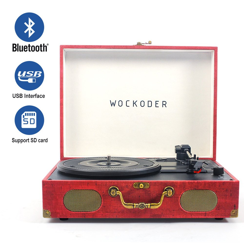 Turntable Vinyl Record Player Built in Stereo Speakers Turntable vinyl records 3 Speed Turntable Player by WOCKODER