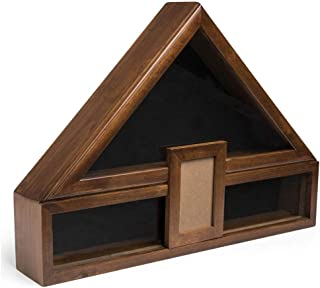 product image for Flag Display Case with Glass Front, Picture Frame and Medal Boxes - Cherry