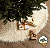 Classic Mongolian Shaggy Sheepskin Faux Fur Tree Skirt / Log Cabin Lodge Christmas Tree Skirt White Premium Quality Faux Fur Round (6' Diameter)