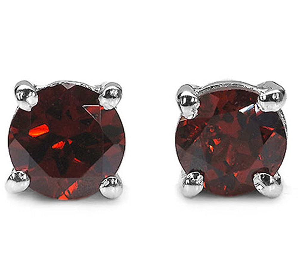 2.10ctw, 6mm Round Genuine Gemstones Solid .925 Sterling Silver Stud Earrings