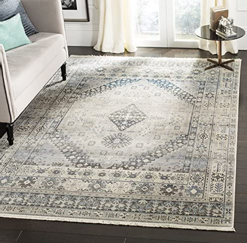 Safavieh Vintage Persian Collection Grey and Blue Polyester Area Rug, 6 x 9 ,