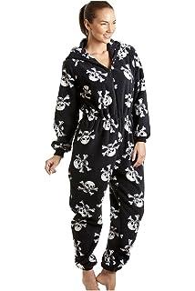 Camille - Pijama polar de una pieza con capucha para mujer - Estampado de calaveras piratas
