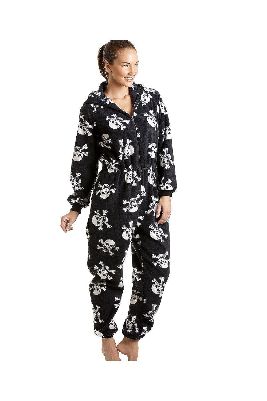 Camille Womens Luxury Soft Fleece White Skull Print Hooded Black Onesie