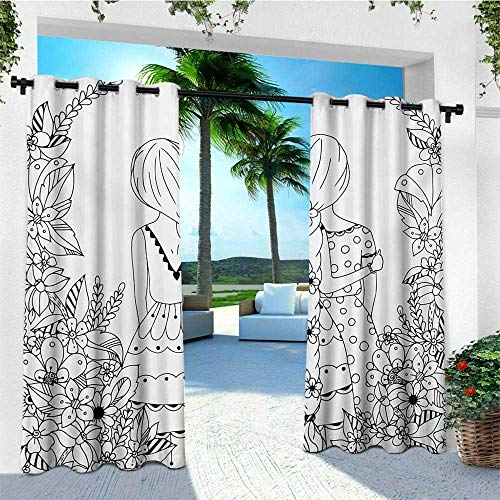 leinuoyi Doodle, Outdoor Curtain Extra Long, Girlfriends with Conjoined Ponytails Hugging Friendship Coloring Book Style Design, for Patio W120 x L108 Inch Black White