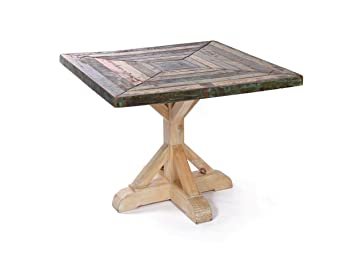 amazon com rustic reclaimed wood kitchen table square