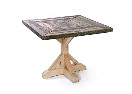 Amazoncom Rustic Reclaimed Wood Kitchen Table Square Farmhouse