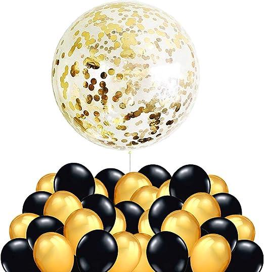 50 Globos Oro y Negro + 1 Globo Confeti Gigante XXL Confetti ...