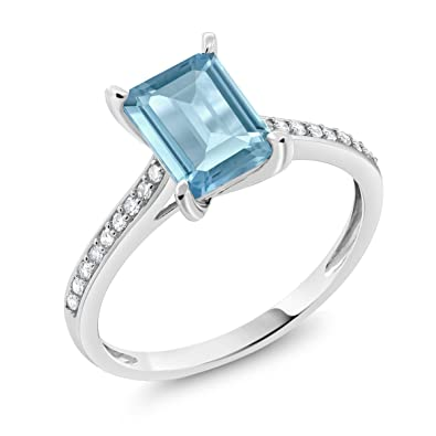 Jewelry & Watches Useful 14k White Gold Round Sky Blue Topaz Diamonds Elegant Ladies Wedding Fine Ring