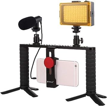 FENSHI 4 en 1 Vlogging Live Broadcast LED Selfie Light Smartphone Video Rig Handle Stabilizer Kits de Soporte de Aluminio con micrófono + Trípode + Zapata fría Cabeza del trípode Portátil: Amazon.es: Electrónica