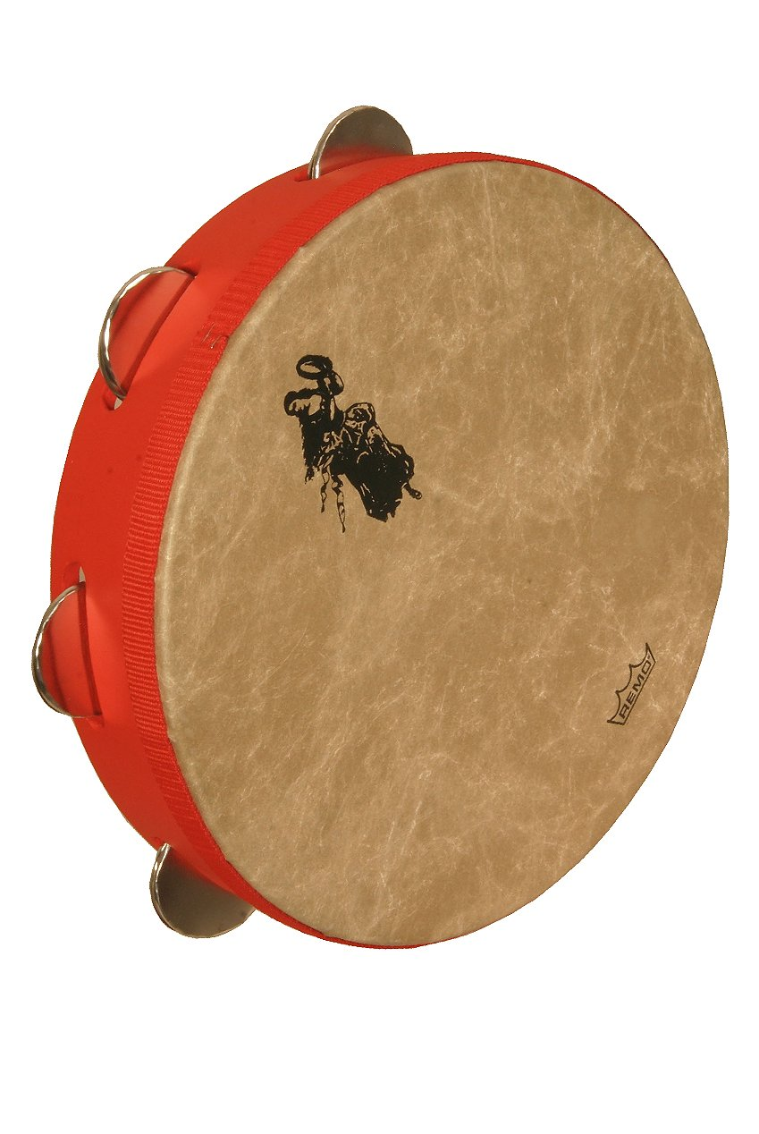 REMO Tambourine, 12'' Diameter, 2.5'' Depth, Tamburello' Style, Red