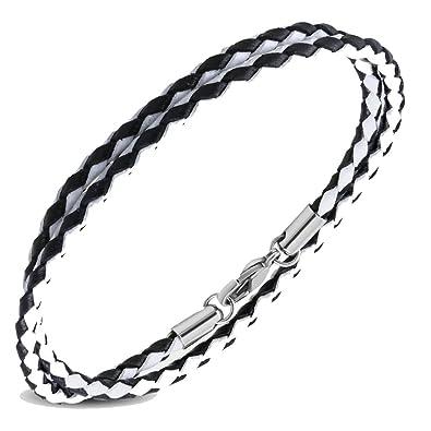 Collar de cordón de piel blanco y negro - 45 cm - cierre ...