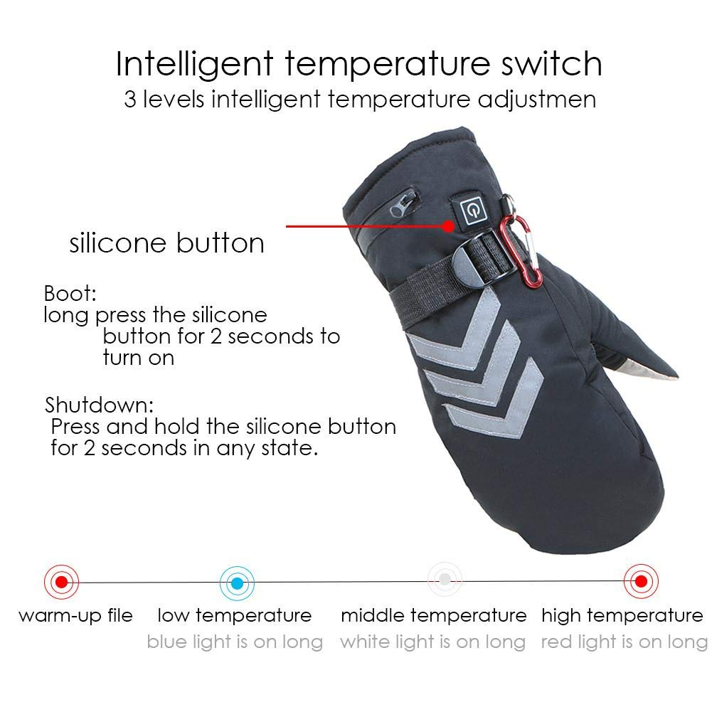 Guantes calefactores Calentador de Manos USB,Guantes calefactables Seguros Temperatura Constante para Hombres y Mujeres,Carga de bater/ía de Litio,Aislamiento Impermeable