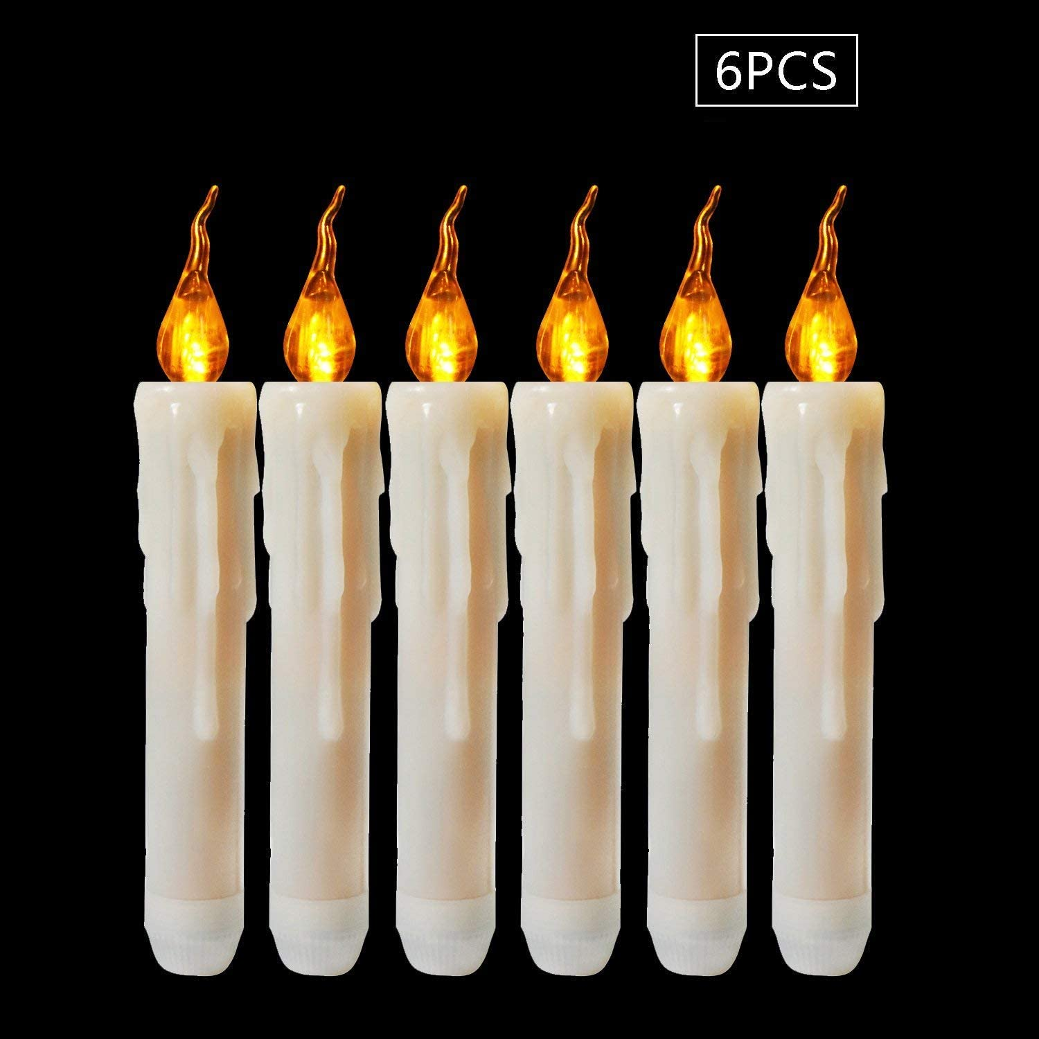 Lighting 120+Hrs Perfect Stick Candle for Halloween,X-mas,Home Decor.Size:1/'/'D6.7/'/'H NOT Included Micandle 6PCS Wax Dripped Amber Flickering Flameless Fake LED Taper Candle,Powered by 2AA Batteries