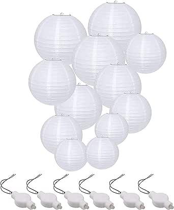 "Vanble Paper Lanterns, 6"" 8"" 10"" 12"" Round Paper Lantern with LED Lantern Lights for Indoor and Outdoor Decoration - (Lanterns 12pcs, Warm White LED Bulbs 14pcs)"