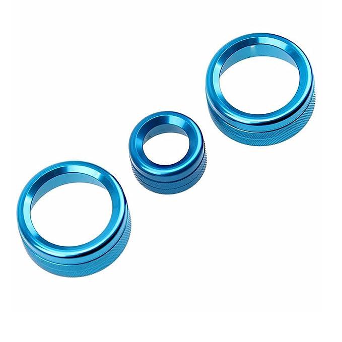 PolarLander 3Pcs Lot Aire Acondicionado Anillos Radio Volumen Perilla Ring Covers Decorativo Circle Trim High Match Azul