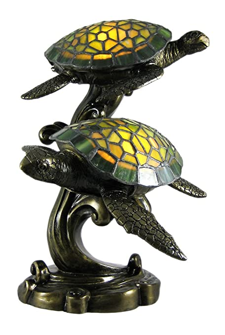 Resin Accent Lamps Beautiful Swimming Sea Turtles Stained Glass Lamp 10 X  14 X 9.5 Inches