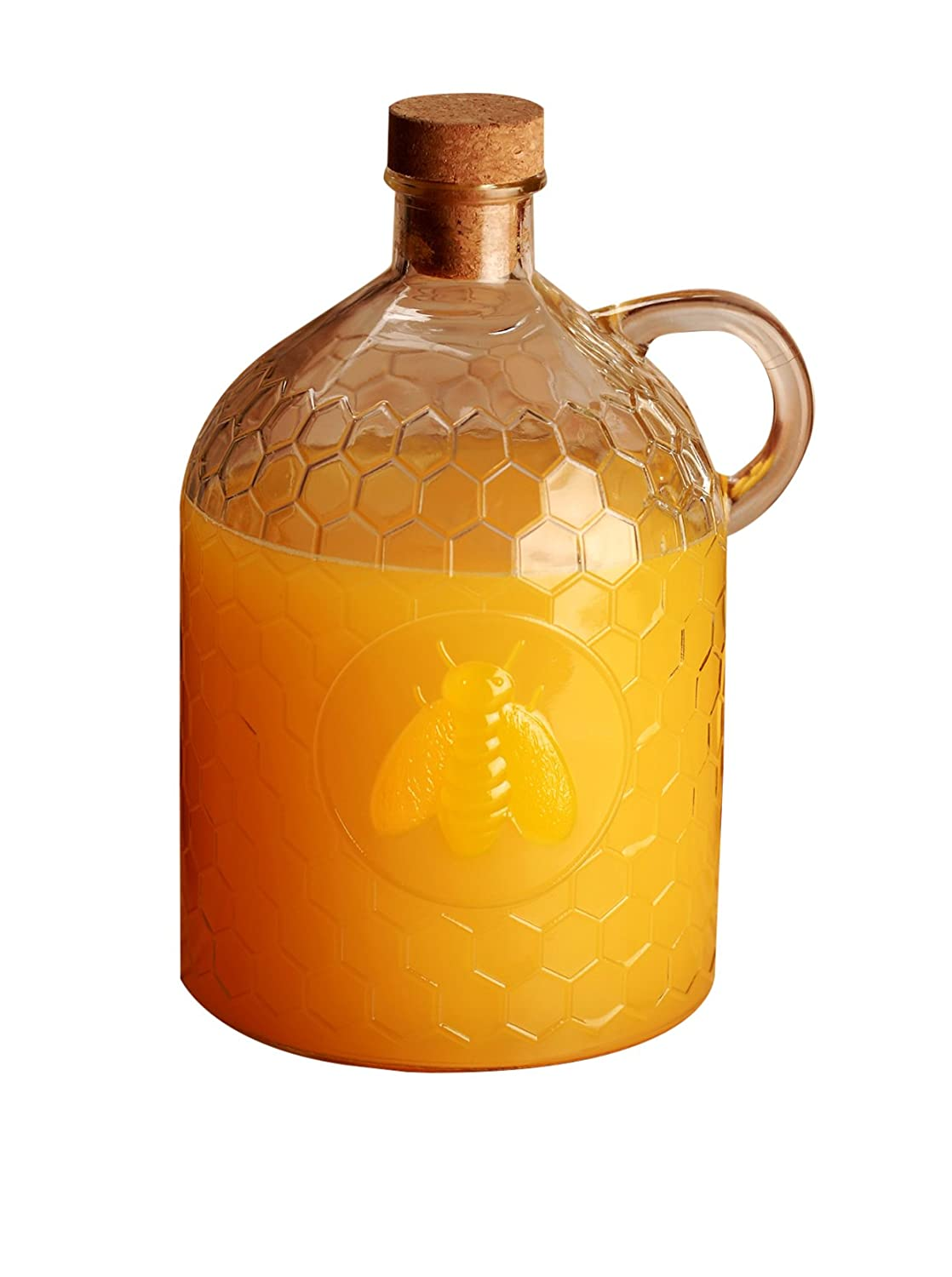 Circleware Honey Bee 2 Liter Clear Glass Jug with Garden Gate Design by Circleware