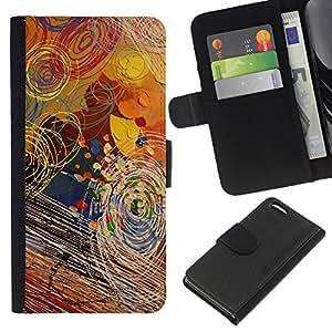 Apple iPhone 5C Modelo colorido cuero carpeta tirón caso cubierta piel Holster Funda protección - Art Kids Random Surreal Pattern Paint