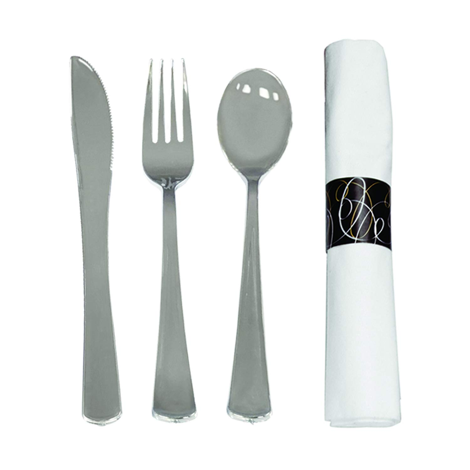 Party Essentials Pre-Rolled Disposable Extra Heavy Duty Plastic Cutlery Kit with Silver Fork/Knife/Spoon and 3-Ply White Napkin (Case of 300 Rolls)