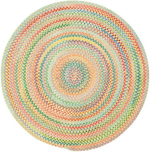 Capel Rugs Baby's Breath 9 ft. Round Braided Area Rug Light Yellow
