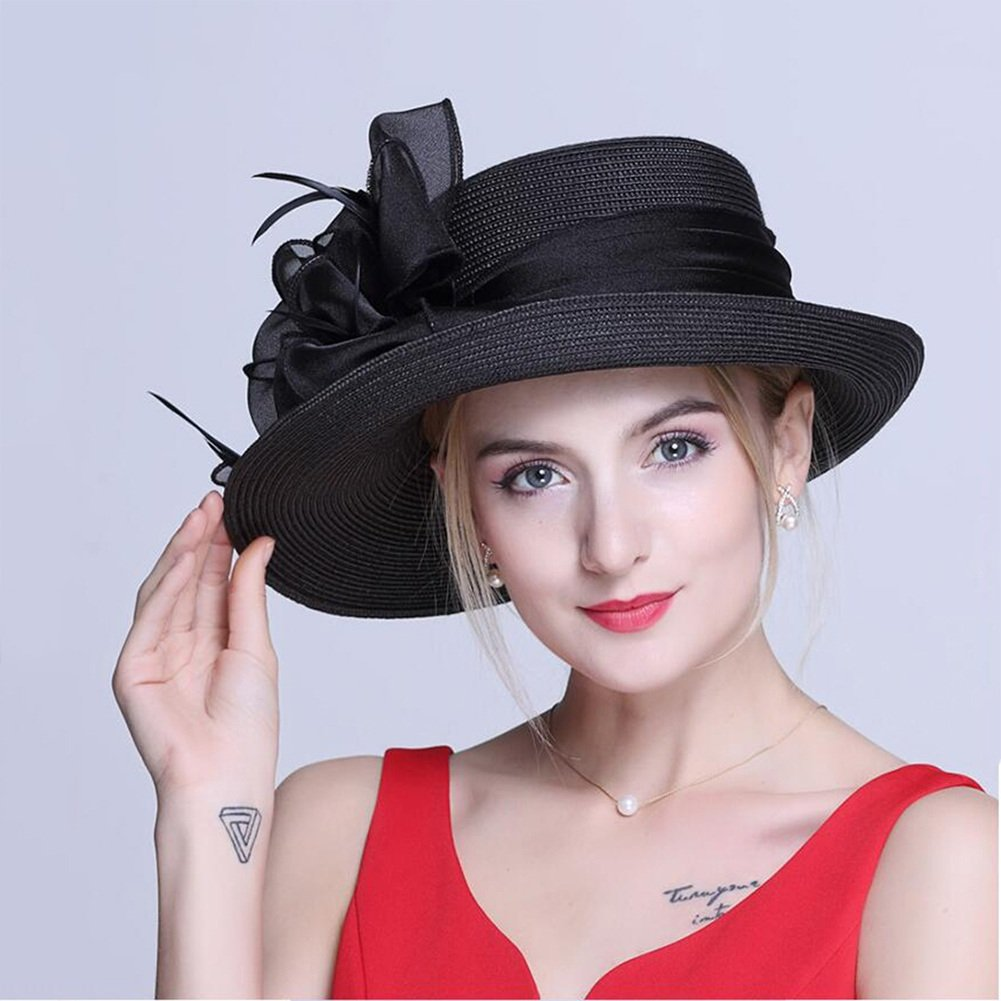 Womens Straw Hat Fashionable Elegant Women's Bowler Summer Visor Hat Sunhat Holiday British Style Cap Back