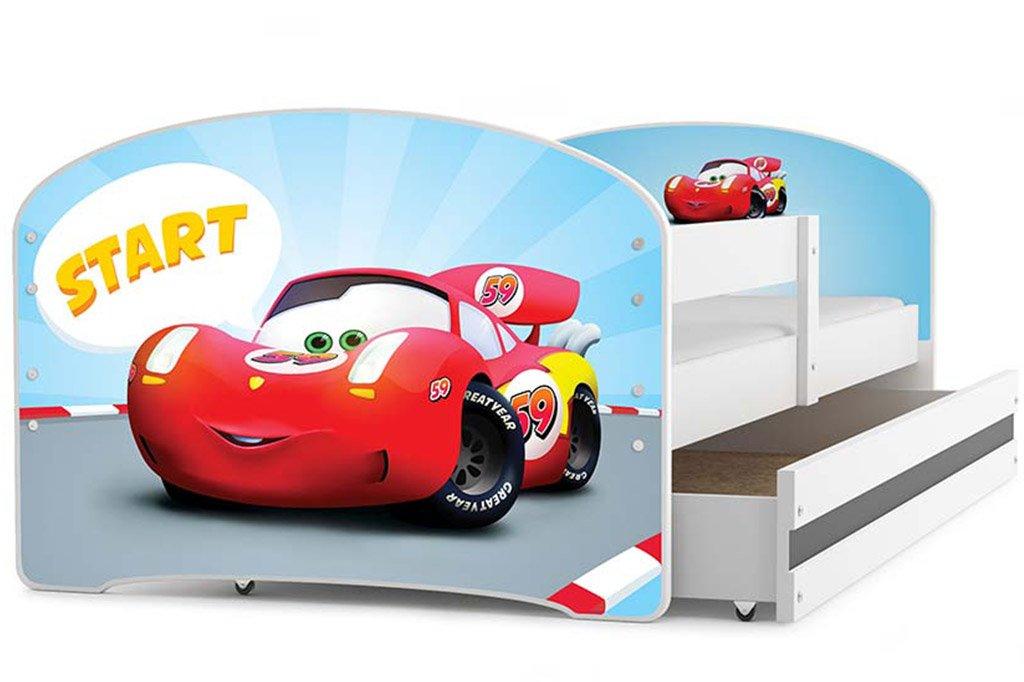 Kinderbett LUKI, Farbe: weiβ 160x80cm, mit Matratze, Schublade und Lattenrost (JUNGLE) Farbe: weiβ 160x80cm Interbeds
