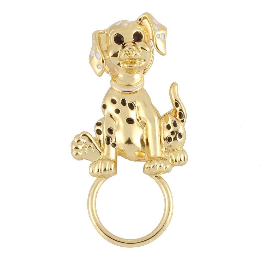TUSHUO Simple gold plated Super Cute Enamel Dog Magnetic Eyeglass Holder (Gold)
