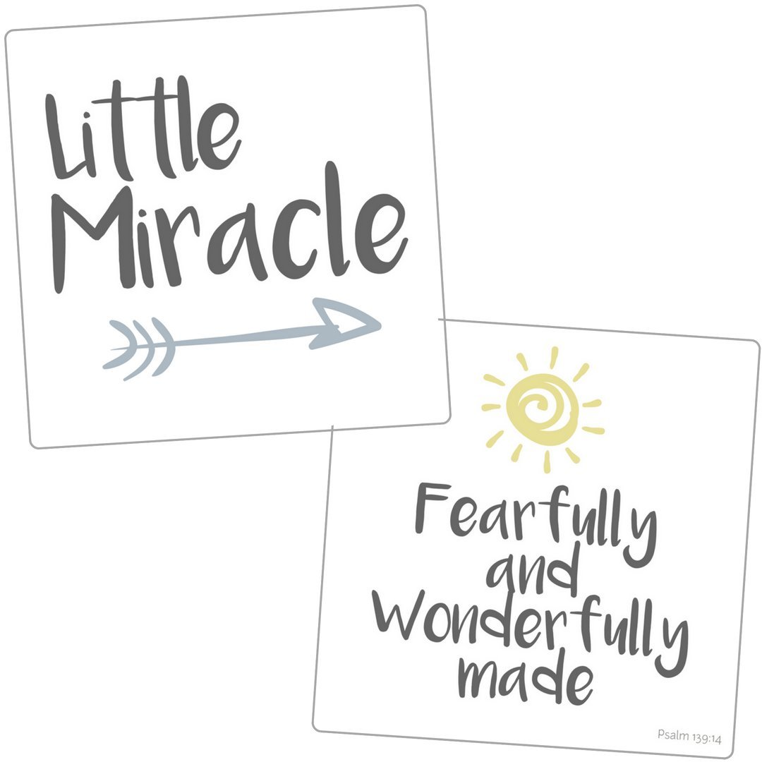 "NICU Crib Art from Every Tiny Thing - Decorate Your Baby's NICU Space with Adorable Prints - ""Miracle (Boys)"""
