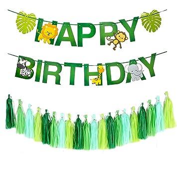 Dusenly Feliz cumpleaños, Bandera Animales de la Selva Juego ...