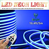 LED NEON LIGHT, IEKOV™ AC 110-120V Flexible LED Neon Strip Lights, 120 LEDs/M, Waterproof 2835 SMD LED Rope Light + Controller Power Cord for Home Decoration (16.4ft/5m, Blue)