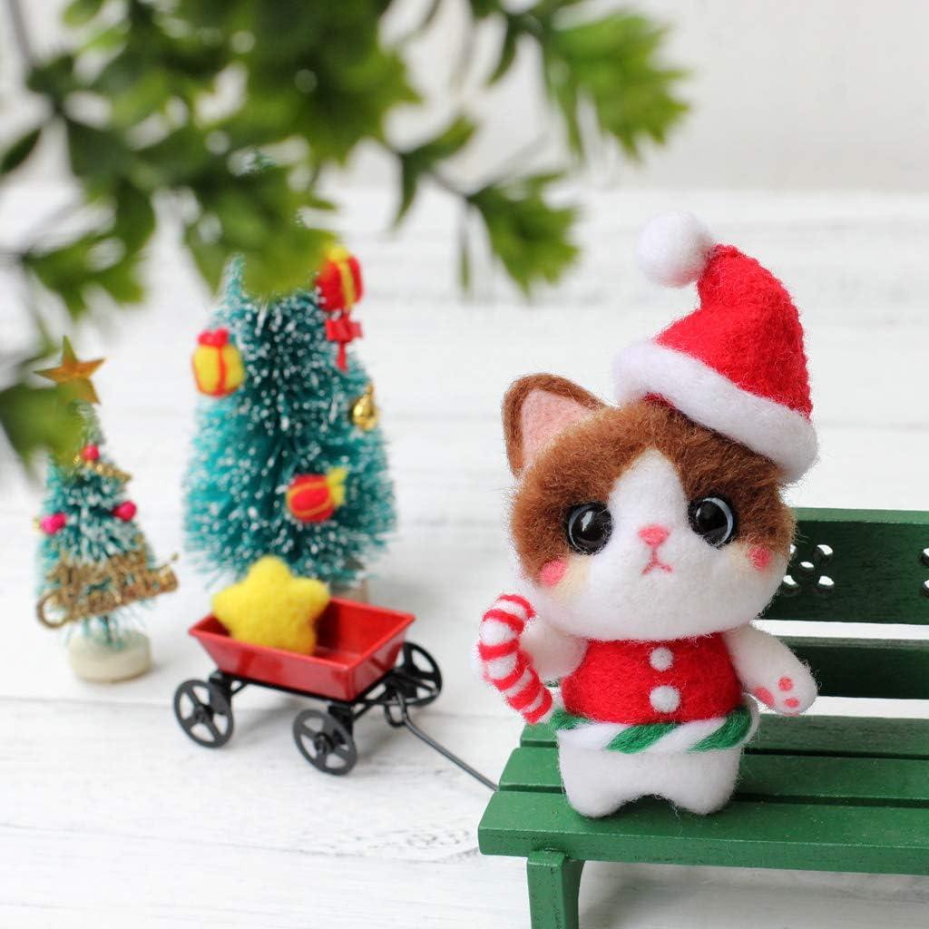 CHBC Christmas Cat Needle Felting Kits Wool Felt Craft DIY Unfinished Poked Set Handcraft Needle Material