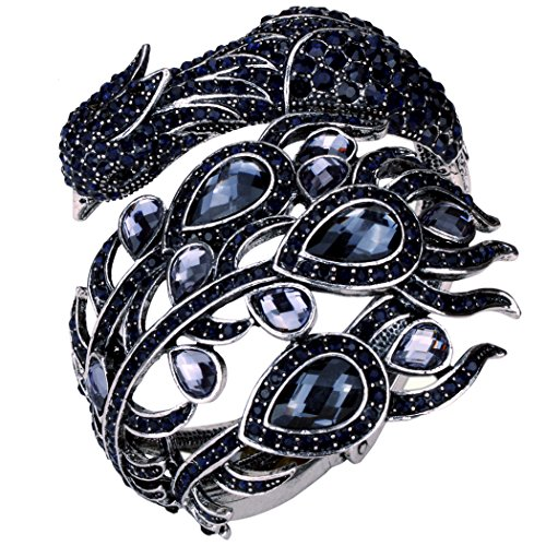 YACQ Jewelry Women's Crystal Big Peacock Bangle Bracelet Women's Halloween Costume Outfit - Navy Angel Costume